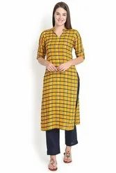 Checks-Yellow Rayon Kurti