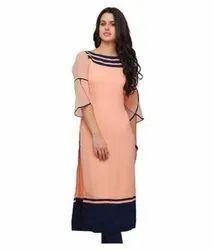 Casual Wear Straight Ladies Plain Cotton Kurti, Size: XL, Wash Care: Handwash