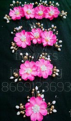 Artificial Pink Flowers Hair Juda Bun