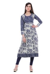 Blue Indigo Printed Anarkali