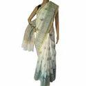 Printed Same As Saree Black & White Chanderi Saree, 5.5 M (separate Blouse Piece)