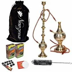 Newzenx Full Brass Hookah Ethnic Indian Traditional 42 Inch Full Accessories