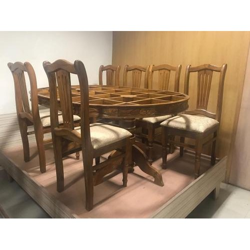 Hamza Furniture 6 Seater Burma Teak Wood Dining Table Set Rs 85000 Set Id 20282640948