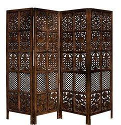 Handcrafted 4 Panel Sheesham Wooden Partition for Home, Size: 80 x 72 inch