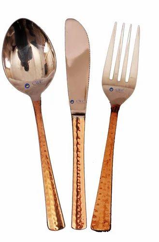 Set of 3 Steel Copper Cutlery Set  sc 1 st  IndiaMART & Set Of 3 Steel Copper Cutlery Set Taambe Ka Chhuri Kante Ka Set ...