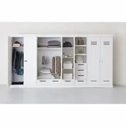 White Modular Wooden Wardrobe