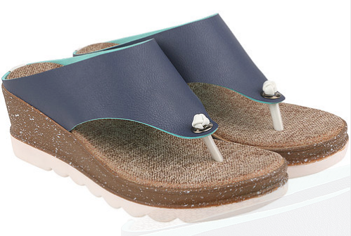 9bb500359fb9 Chalfoot Brown And Blue Cork Fancy Flip Flop Sandle