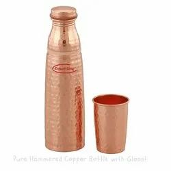 Hammered Copper Glass Bottle