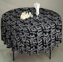 Airwill White / Black Letter Print Table Cloth, Size: 140 X 140 Cm