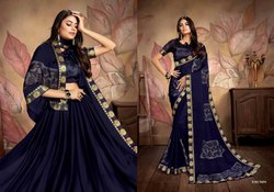 Patch Border Work Chiffon Sarees, Size: Free Size, With blouse piece