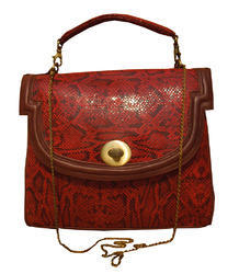 Spice Art Red python top handle bag