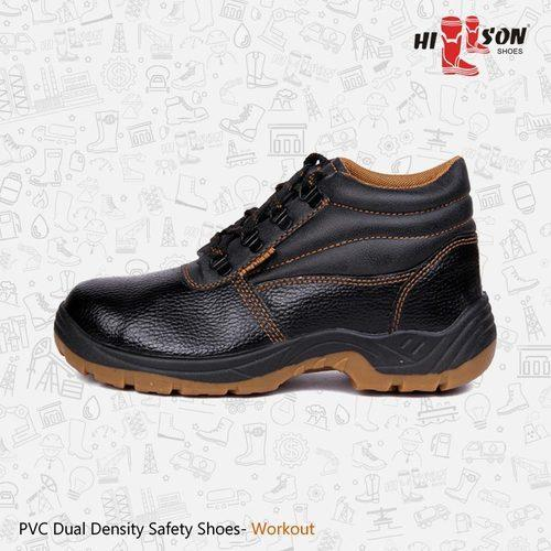 Black/Brown Workout PVC Safety Shoes For Logistic Industry, Size: All Sizes