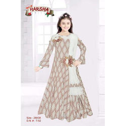Wedding Chiffon Kids Full Sleeve Gown, Size: 28 And 34