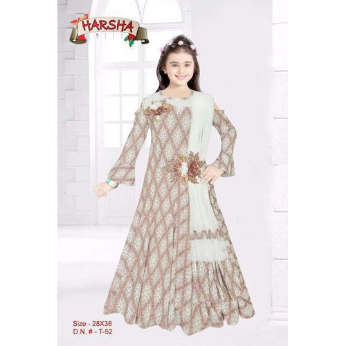1efcded87b Wedding Chiffon Kids Full Sleeve Gown