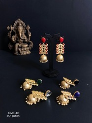 Artificial Golden Matte Earrings