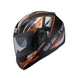 Black Orange Studds Shifter D5 N10 Series Full Face Helmet (Black), Size: L