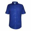 Mens Blue Plain Half Sleeves Shirt