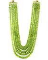 Peridot 5 String Roundel Faceted Beads Necklaces