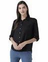 Womens Classic Black Button Down Shirt