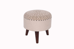 Wooden Upholstered Round Stool