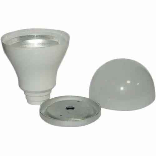 Aluminium With Coated LED Bulb Body (Philips Type), Shape: Round