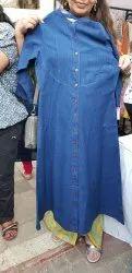 Anarkali Full Sleeve Denim Single Piece Ladies Kurta, Wash Care: Machine wash
