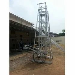 Aluminium Square Type Tower Ladder with Big Iron Wheels