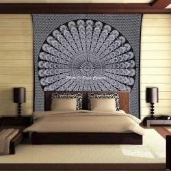 Bohemian Peacock Feather Mandala Tapestry