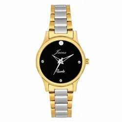 Jainx Black Dial Two Tone Round Analog Watch for Women JW1202