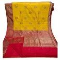 Embroidered Ladies Party Wear Handloom Banarasi Silk Sarees, 6.3 M (with Blouse Piece)