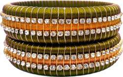 Green And Golden Silk Thread Bangles Set
