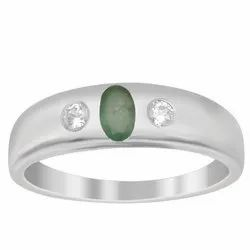 Three Stone Solid Band 925 Sterling Silver Emerald Gemstone Stacking Ring