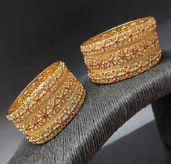 Polki Copper Gold Antique Bangles