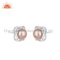 Natural Gray Pearl Gemstone 925 Sterling Silver Stud Earrings Jewelry
