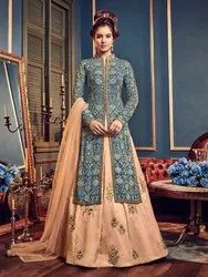 Turquoise Swiss Georgette Semi Stitched Lehenga Style Suit
