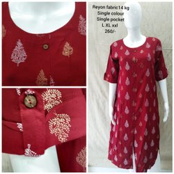 Straight Red Ladies printed rayon kurti 14 kg with pocket