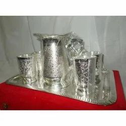 Brass Silver Plated Jug Set