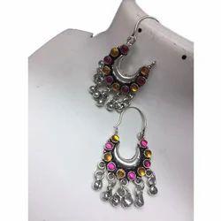 Oxidised Glass Earrings