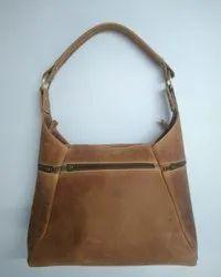 Zipper Closure Designer Leather Ladies Bag