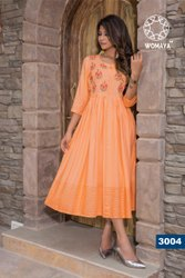 WOMAYA RAYON EMBROIDERED FROCK KURTI