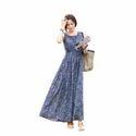 Chiffon Blue Sleeveless Bohemian Casual Maxi Long Dress, Size : L & Xl