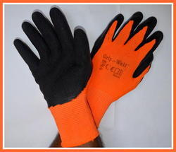 Orange Nylon Shell With Black Crinkle Latex Palm Coated Gloves