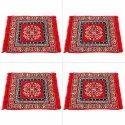 Cotton Puja Aasan Red Set Of 4 (large Size)