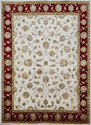 Hand Knotted Wool And Silk Red Ivory Rug