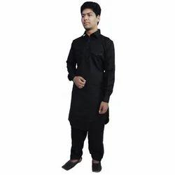 Cotton Black Double Pocket Pathani Suit, Size: 36, 38, 40, 42 & 44