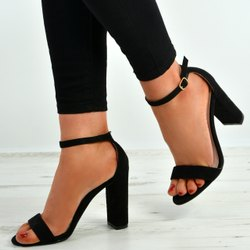 Black Party Wear Ladies High Heel Sandals, For Casual Wear
