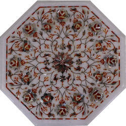 Octagonal Marble Inlay Dining Table Top, Marble Inlay Coffee