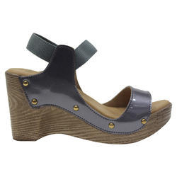 Brown And Grey Feminine Wedge Sandals