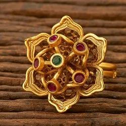 Copper & Brass Antique Matte Gold Plated Floral Ring 200618