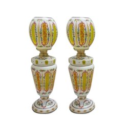 Opal And Yellow Antique Glass Table Vases, Shape: Round